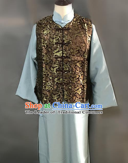 Traditional Chinese Stage Performance Costume Ancient Qing Dynasty Royal Highness Long Robe for Men