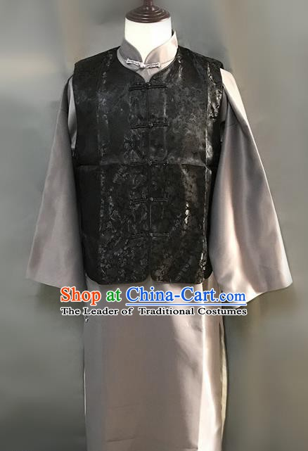 Traditional Chinese Stage Performance Black Costume Ancient Qing Dynasty Royal Highness Clothing for Men