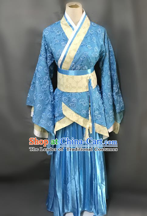 Traditional Chinese Han Dynasty Female Costume Ancient Embroidered Blue Clothing for Women