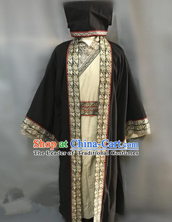 Traditional Chinese Stage Performance Costume Ancient Han Dynasty Landlord Clothing for Men