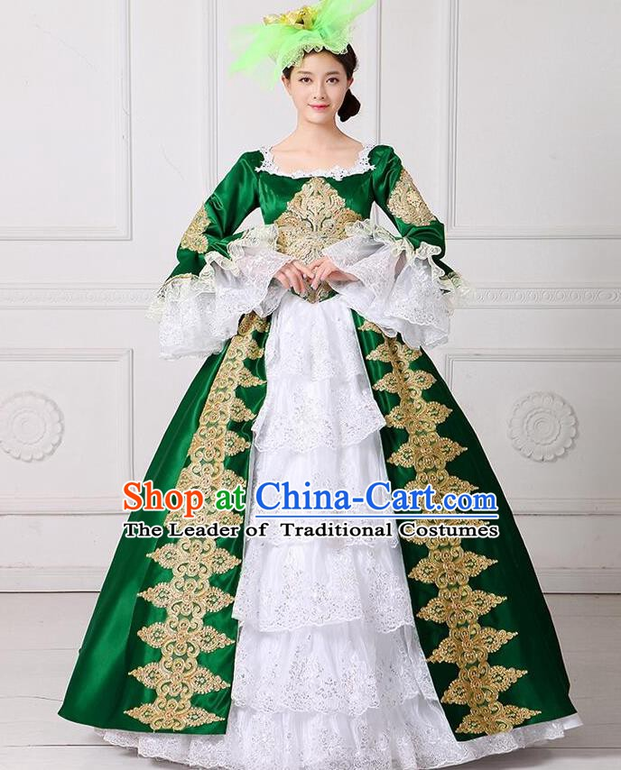Traditional European Court Princess Renaissance Costume Stage Performance Dance Ball Dowager Green Full Dress for Women