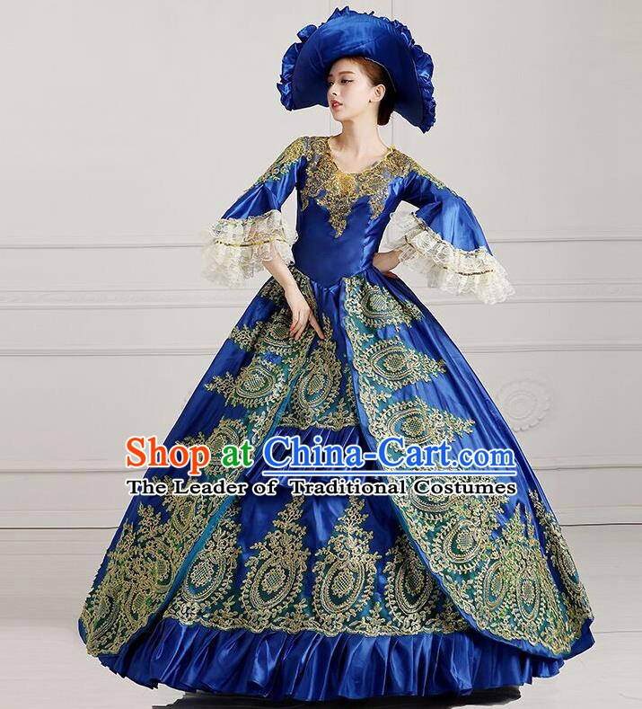 Traditional European Court Princess Renaissance Costume Stage Performance Dance Ball Dowager Royalblue Full Dress for Women