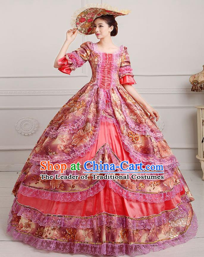 Traditional European Court Princess Renaissance Costume Stage Performance Dance Ball Dowager Pink Full Dress for Women