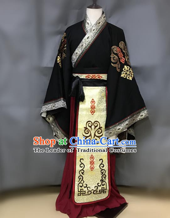Traditional Chinese Stage Performance Costume Ancient Qin Dynasty Emperor Clothing for Men
