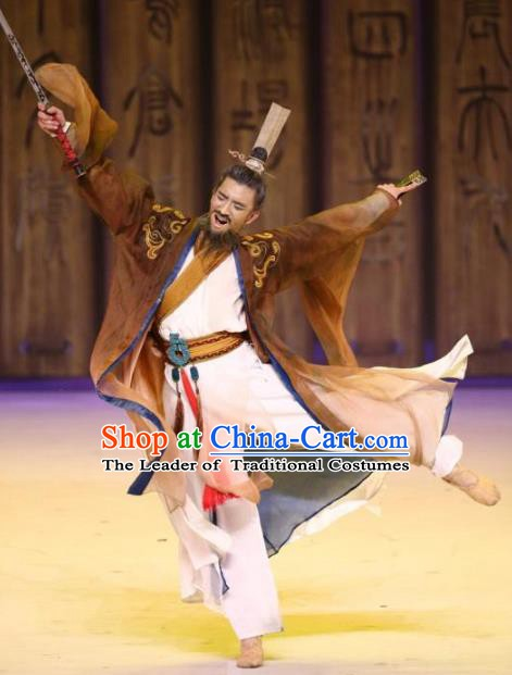 Traditional Chinese Stage Performance Costume Ancient Han Dynasty Chancellor Clothing for Men