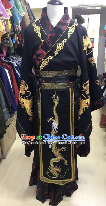 Traditional Chinese Stage Performance Costume Ancient Han Dynasty Emperor Dragon Robe for Men