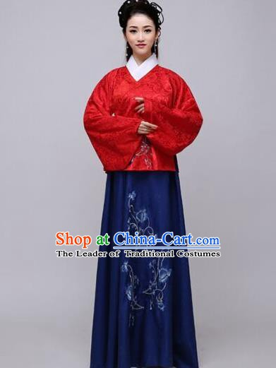 Traditional China Ancient Ming Dynasty Princess Costume Hanfu Red Blouse and Navy Skirt for Women
