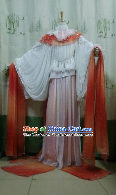 Traditional China Ancient Cosplay Princess Costume Palace Lady White Dress for Women