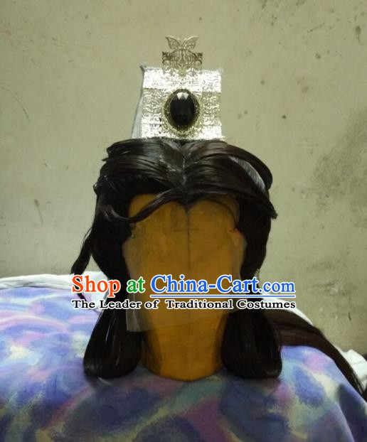 Traditional China Ancient Cosplay Nobility Childe Hair Accessories Wig and Hairdo Crown for Women