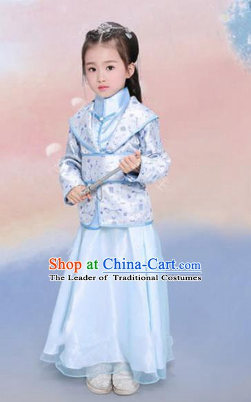 Traditional Chinese Tang Dynasty Swordswoman Clothing Ancient Nobility Lady Costume for Kids