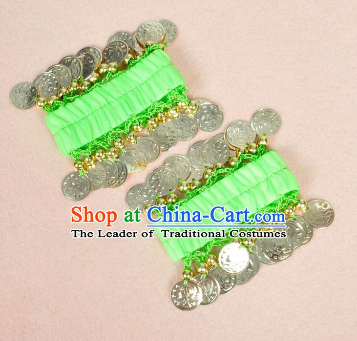 Oriental Indian Belly Dance Accessories Light Green Bracelets India Stage Performance Golden Coin Bangle for Women