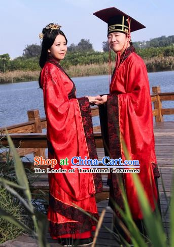 Chinese Ancient Zhou Dynasty Palace Wedding Hanfu Costume Complete Set for Women for Men