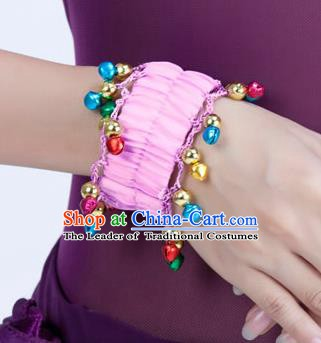 Oriental Indian Belly Dance Accessories Pink Bracelets India Raks Sharki Bells Bangle for Women
