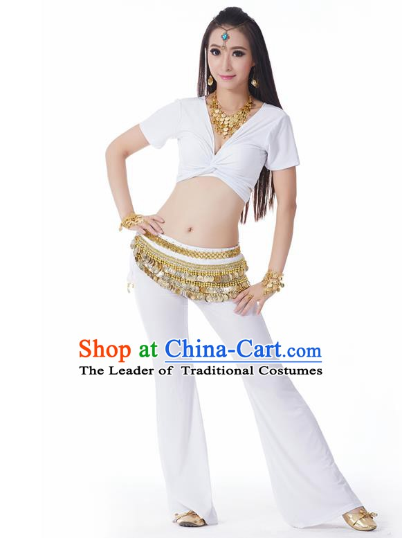 Asian Indian Belly Dance Costume Stage Performance Yoga White Outfits, India Raks Sharki Dress for Women