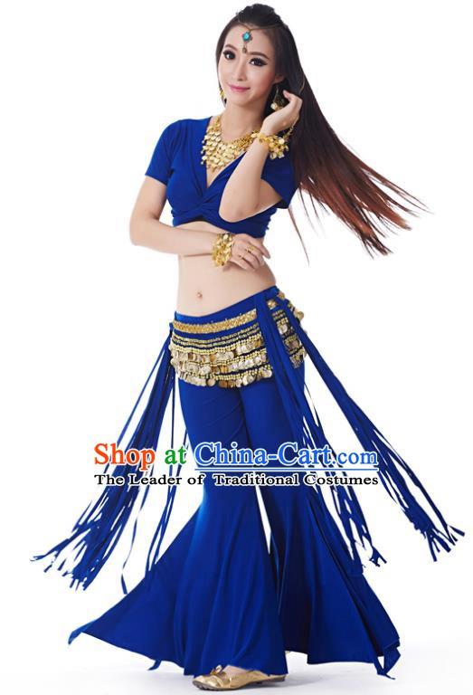 61b5ad59bd50 Indian Belly Dance Costume India Raks Sharki Royalblue Uniform Oriental  Dance Clothing for Women