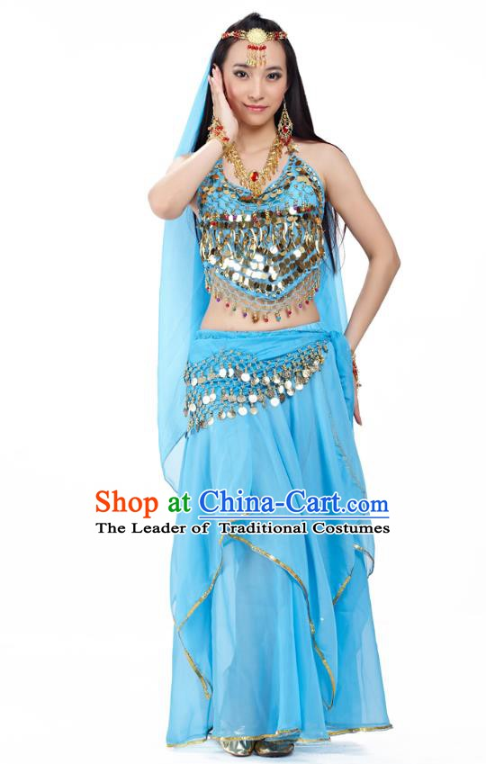 Asian Indian Belly Dance Blue Costume Stage Performance Outfits, India Raks Sharki Dress for Women
