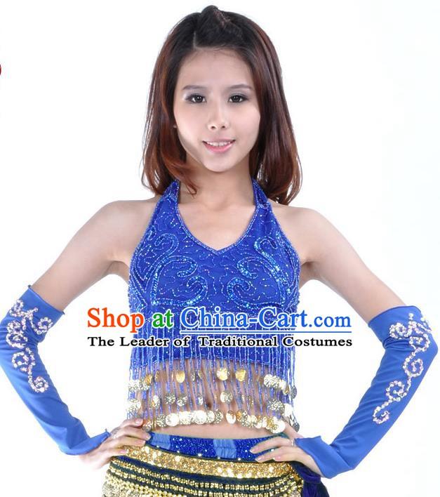 d59ed0c52809 Indian Oriental Dance Belly Dance Costume India Raks Sharki Royalblue  Brassiere and Sleevelet for Women
