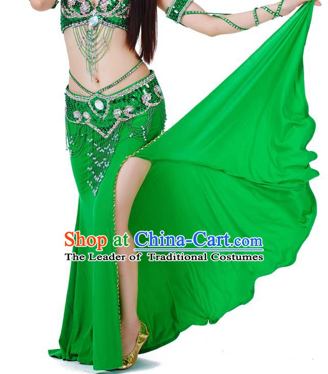 Top Indian Belly Dance Costume Green Split Skirt, India Raks Sharki Clothing for Women