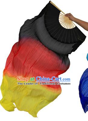 China Folk Dance Three-colour Folding Fans Yanko Dance Black Silk Fans for for Women
