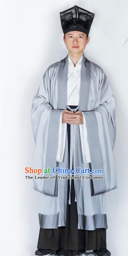 China Traditional Han Dynasty Scholar Hanfu Clothing Ancient Minister Cloak for Men