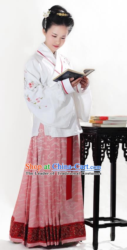 Asian China Ming Dynasty Princess Hanfu Clothing Ancient Palace Lady Embroidered Costume for Women