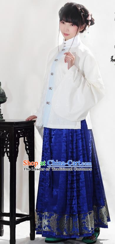 Asian China Ancient Ming Dynasty Princess Hanfu Costume Embroidered Blouse and Horse-face Skirt for Women