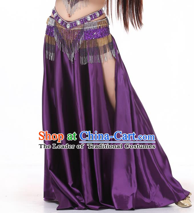 Indian Belly Dance Costume Bollywood Oriental Dance Purple Satin Skirt for Women
