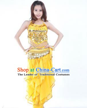 Indian Traditional Belly Dance Costume Asian India Oriental Dance Yellow Clothing for Women