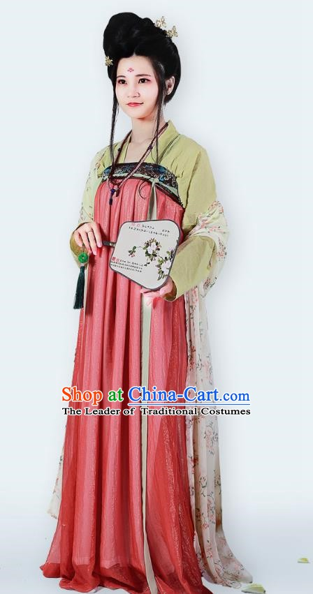 Traditional Chinese Ancient Imperial Concubine Costume Tang Dynasty Palace Lady Embroidered Dress for Women