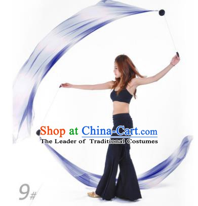 Indian Belly Dance Props India Raks Sharki Accessories Gradient Blue Ribbons for Women