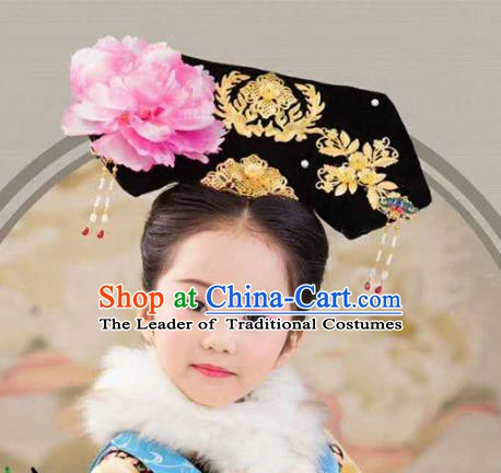 Chinese Handmade Classical Qing Dynasty Princess Hair Accessories Ancient Manchu Palace Lady Headwear
