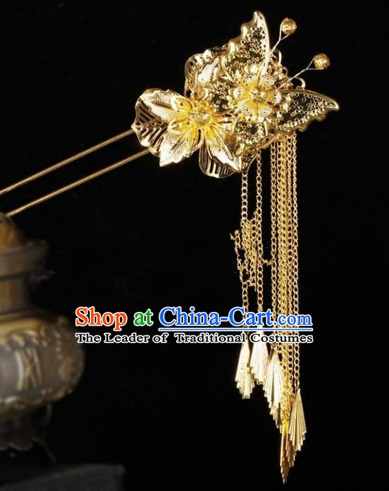 Chinese Handmade Classical Hair Accessories Ancient Palace Lady Wedding Golden Hairpins Headwear for Women