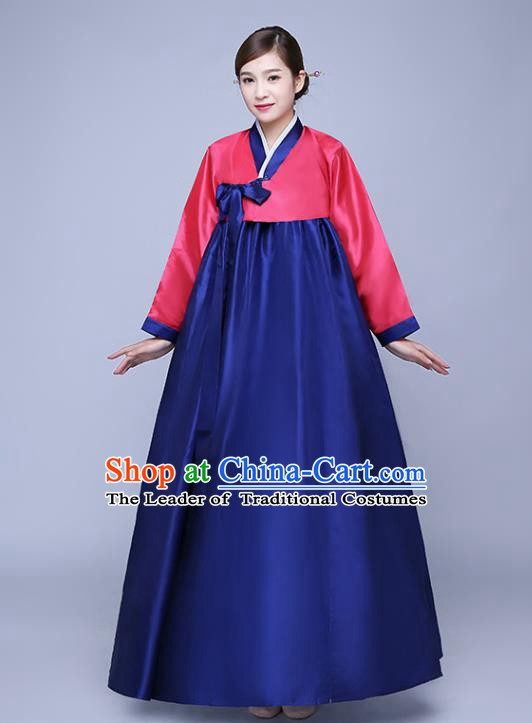 Asian Korean Dance Costumes Traditional Korean Hanbok Clothing Wedding Red Blouse and Navy Dress for Women