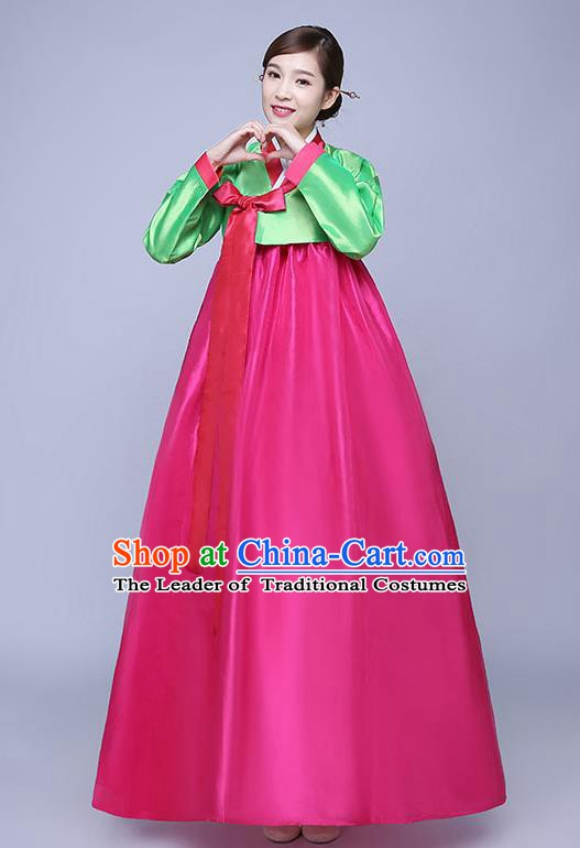 Asian Korean Dance Costumes Traditional Korean Hanbok Clothing Wedding Green Blouse and Rosy Dress for Women