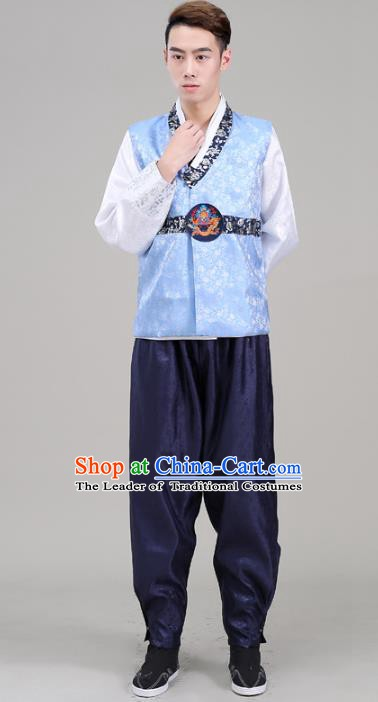 Asian Korean Court Dance Blue Costumes Traditional Korean Hanbok Wedding Bridegroom Clothing for Men