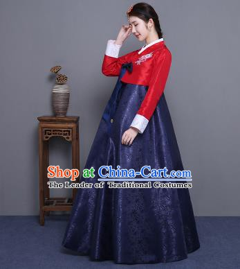 Asian Korean Court Costumes Traditional Korean Hanbok Clothing Red Blouse and Navy Dress for Women