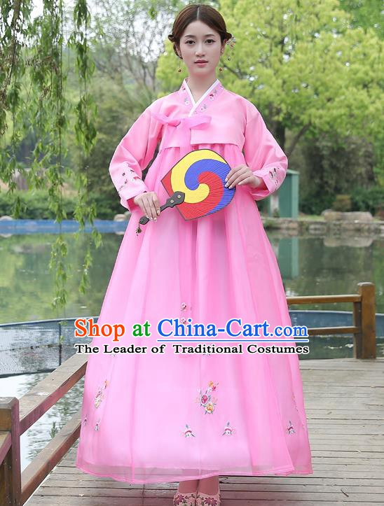 Asian Korean Court Costumes Traditional Korean Bride Hanbok Clothing Pink Blouse and Dress for Women