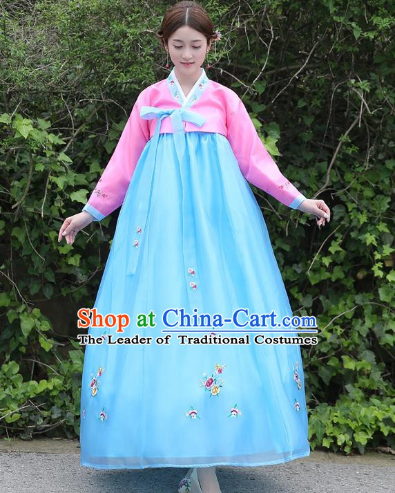 Asian Korean Court Costumes Traditional Korean Bride Hanbok Clothing Pink Blouse and Blue Dress for Women