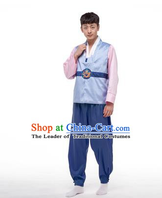 Asian Korean Palace Costumes Traditional Korean Bridegroom Light Blue Hanbok Clothing for Men