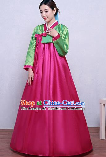 Asian Korean Dance Costumes Traditional Korean Hanbok Clothing Green Blouse and Rosy Dress for Women