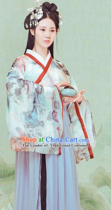 Chinese Traditional Han Dynasty Princess Clothing, China Ancient Palace Lady Costume and Headpiece Complete Set
