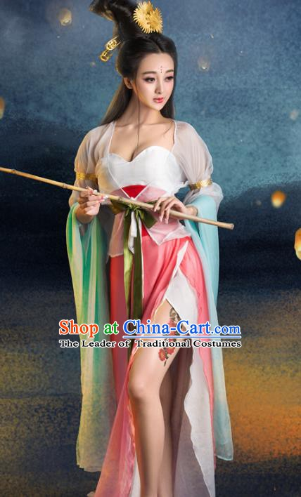 Chinese Traditional Tang Dynasty Imperial Consort Sexy Clothing, China Ancient Fairy Costume and Headpiece Complete Set