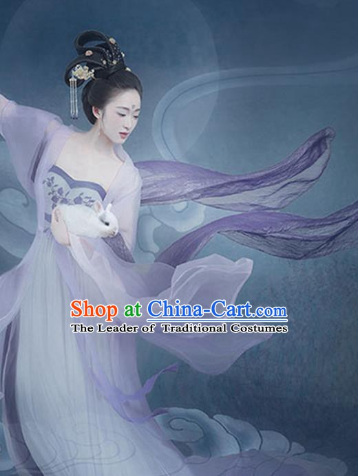 Chinese Traditional Ancient Palace Lady Fairy Chang'e Embroidered Dance Clothing and Headpiece Complete Set