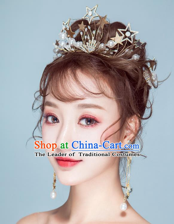 Handmade Classical Wedding Hair Accessories Bride Baroque Royal Crown Stars Hair Clasp for Women