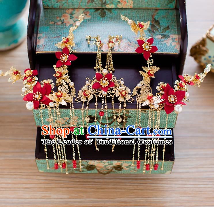 Chinese Handmade Classical Wedding Hair Accessories Ancient Xiuhe Suits Red Flowers Hair Stick Hairpins for Women
