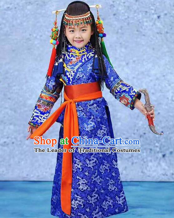 Traditional Chinese Mongol Nationality Dance Costume, Mongols Children Mongolian Minority Clothing for Kids