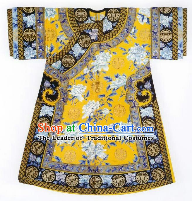 Traditional Chinese Qing Dynasty Palace Lady Costume, China Ancient Manchu Imperial Concubine Embroidered Clothing