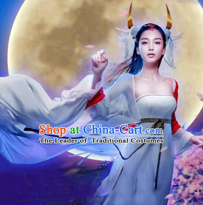 Traditional Chinese Ancient Fairy Costume, China Tang Dynasty Palace Lady Dress Clothing for Women