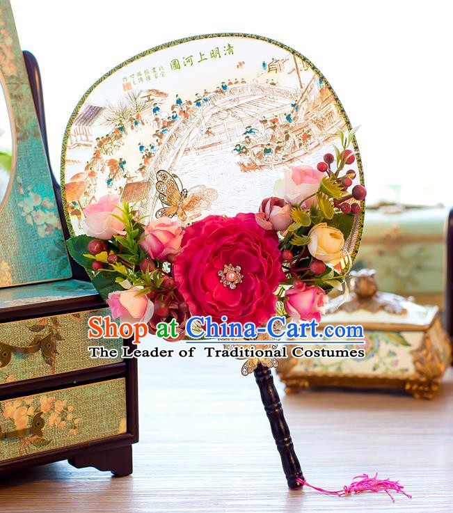 Chinese Handmade Classical Peony Palace Fans Ancient Wedding Round Fans for Women