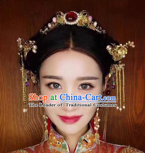 Chinese Handmade Classical Hair Accessories Ancient Palace Hairpins Phoenix Coronet Complete Set for Women